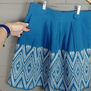Anthropologie Cotton Embroidered Skirt